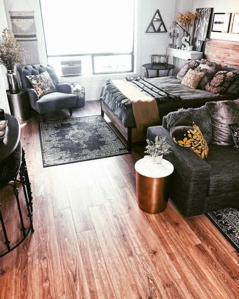 cute design studio apartment ideas wood floor funky studio