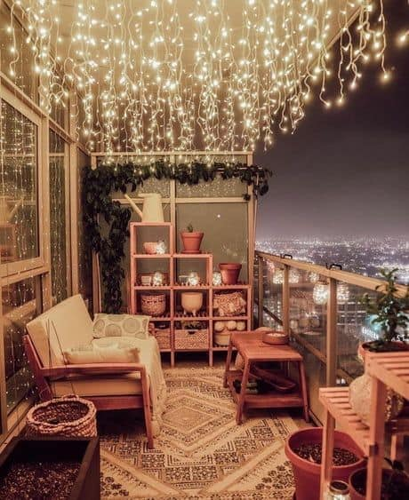 cute ways to decorate balcony hanging lights