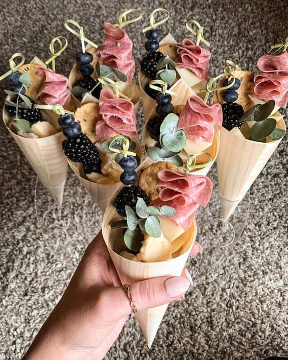 clever food idea grad party cute and festive charcuterie cone