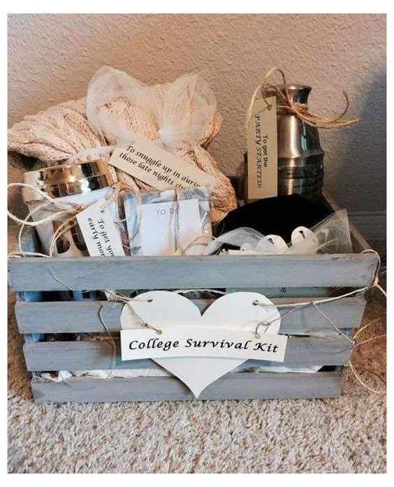 clever gift basket graduation college survival kit