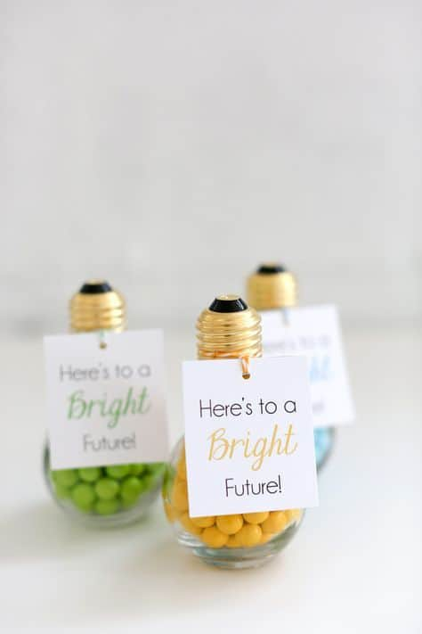 college party grad ideas cute light bulb candy