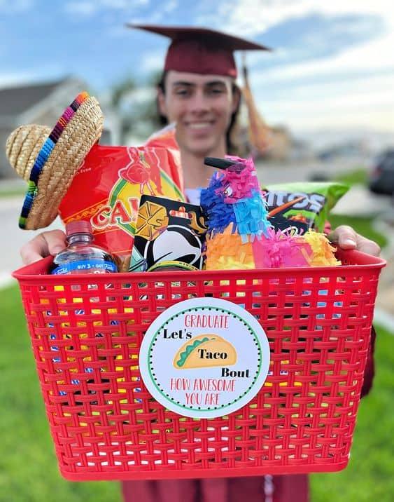 cute idea gift basket graduation taco bout grad basket