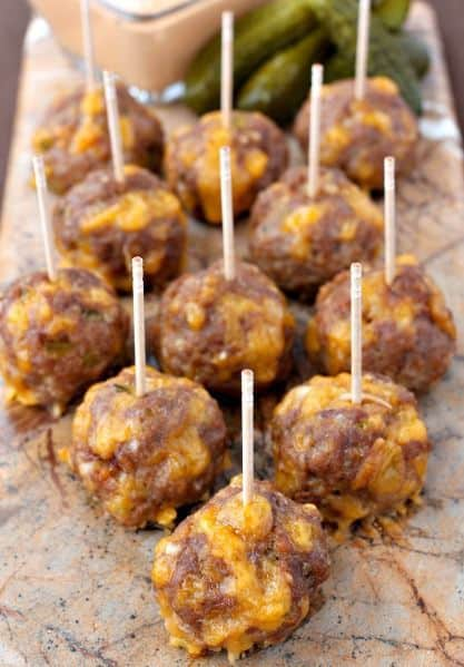 food party grad ideas meatballs on a stick
