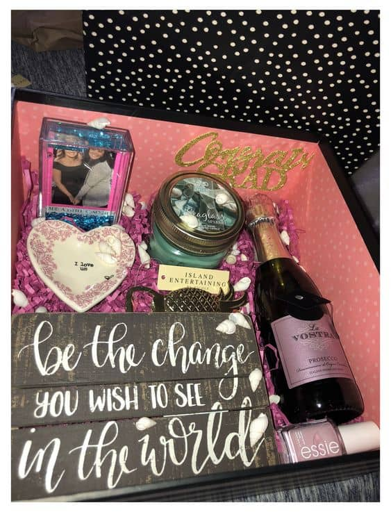 gift basket ideas for the grad be the change you wish to see in the world basket