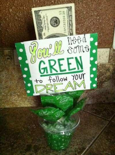gift basket ideas graduation you'll need some green to follow your dream basket