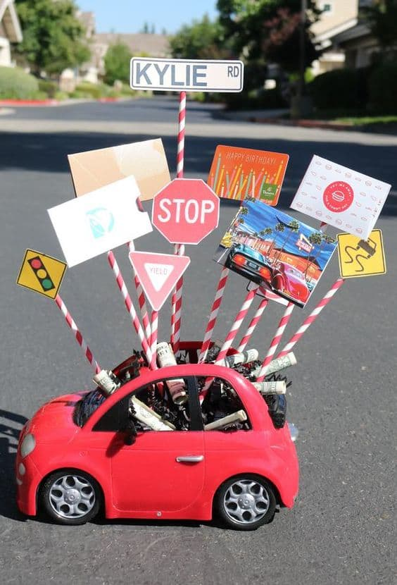 grad ideas gift basket car and stop street signs basket