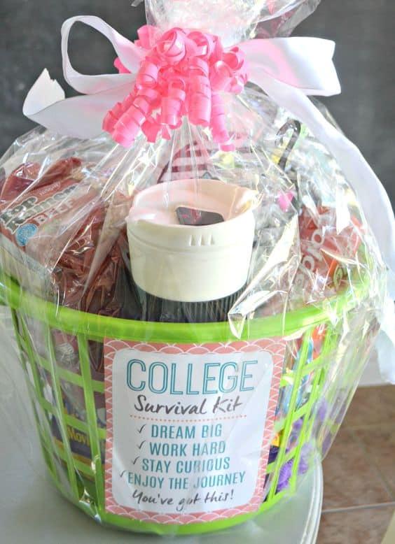 graduation gift basket ideas college basket survival kit