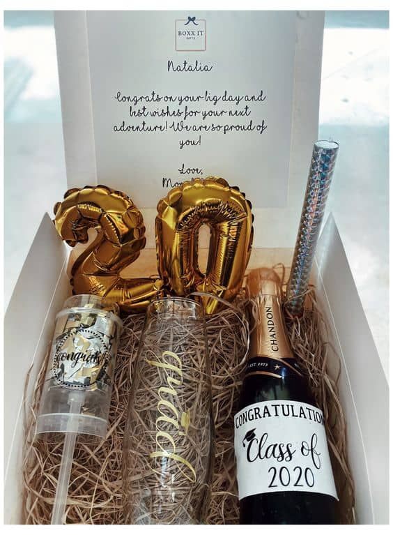 ideas for grad gift basket personalized balloon champagne basket