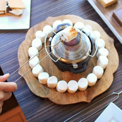 party food ideas graduation fondue with marshmellows