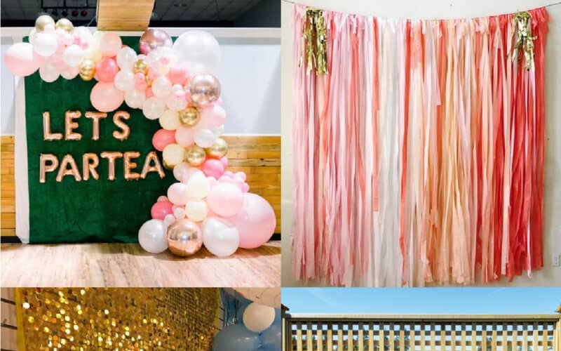 backdrop graduation ideas balloons and fringe party