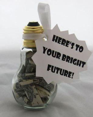 fun ideas for grad money gifts light bulb grad present