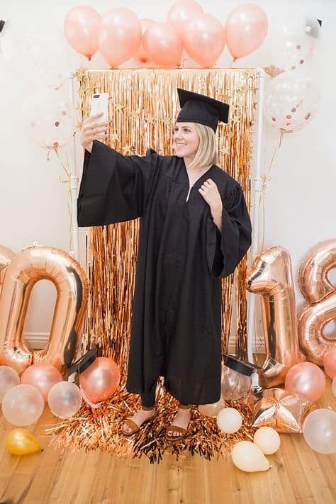 grad ideas for party backdrop rose gold theme grad photo booth