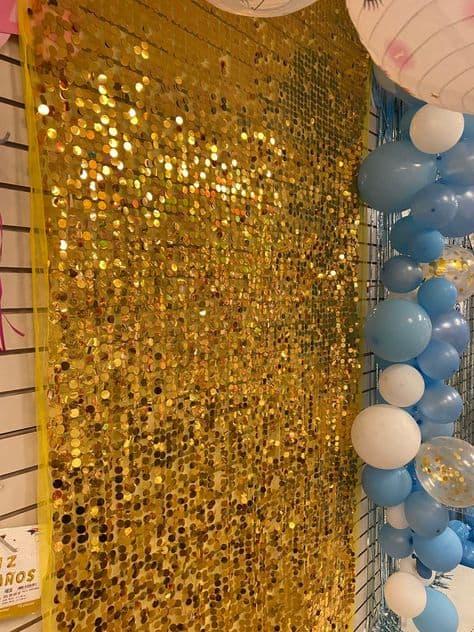 grad ideas party backdrop gold sparkle wall