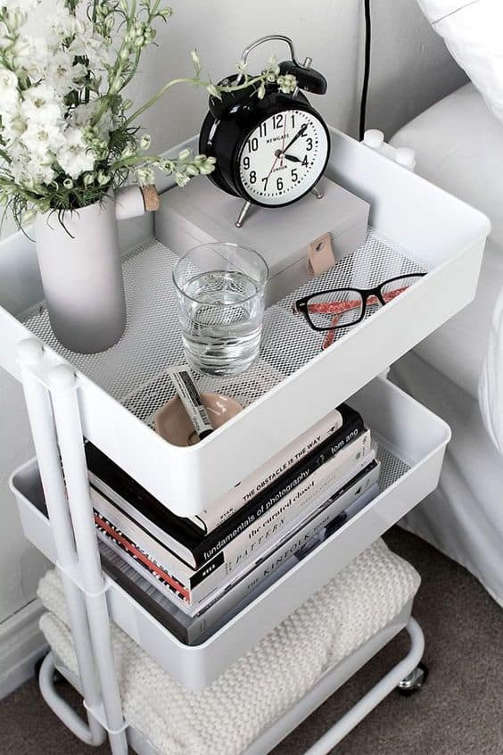 best small space living tips rolling cart