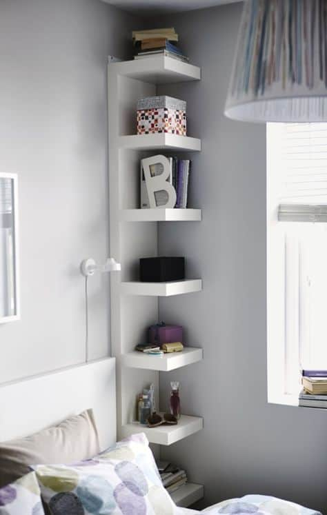 better organizing small spaces corner shelving living area