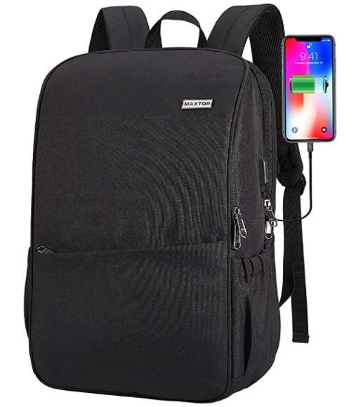 black travel backpack for men portable USCB charger