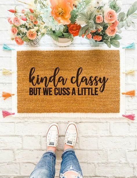 cute front doormat ideas kinda classy but we cuss a little doormat