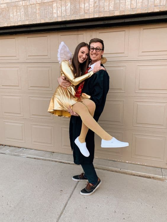cute halloween couple costume diy harry potter and gold snitch
