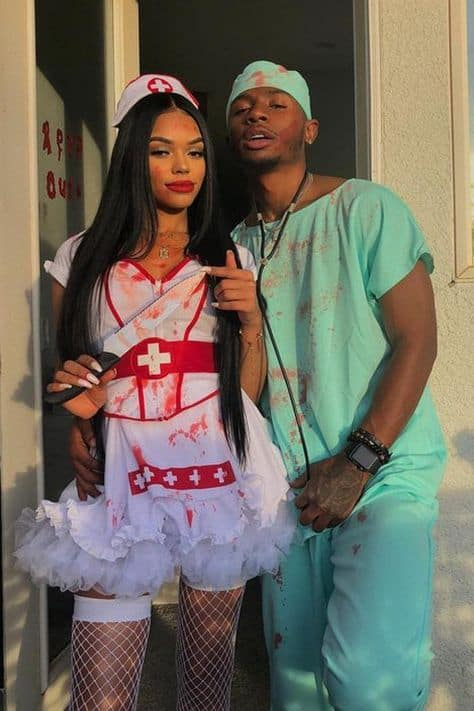 diy halloween ideas couples nurse and patient