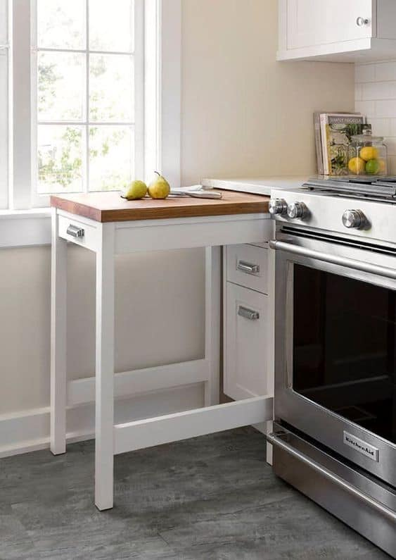 hacks for small space living pull out kitchen storage table