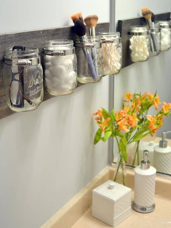 ideas for small space organization mason jar organizers
