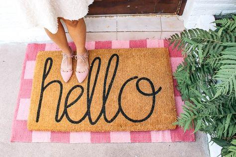 layered rug doormat look hello doormat with a pop of color