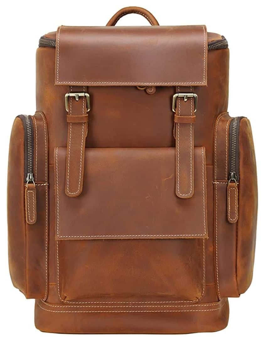 leather backpack college backpacks for men brown vintage backpack