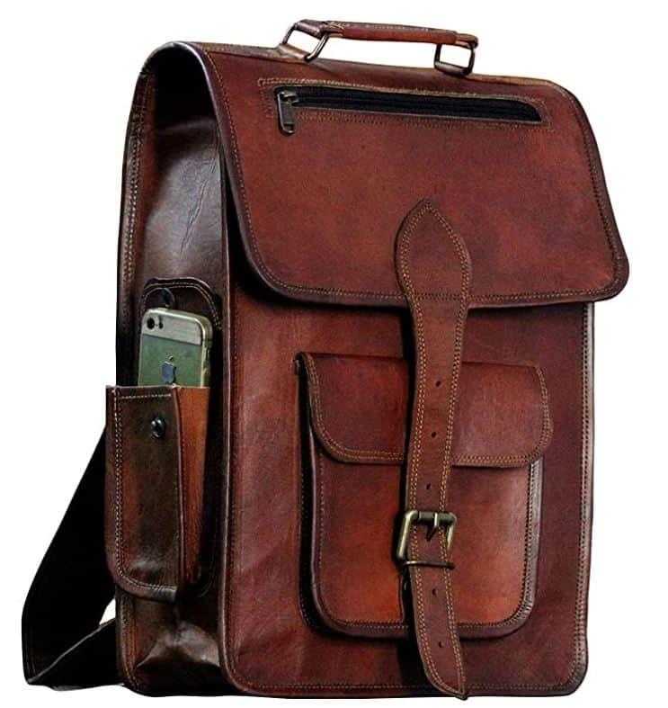 leather messenger college backpacks for men leather backpack