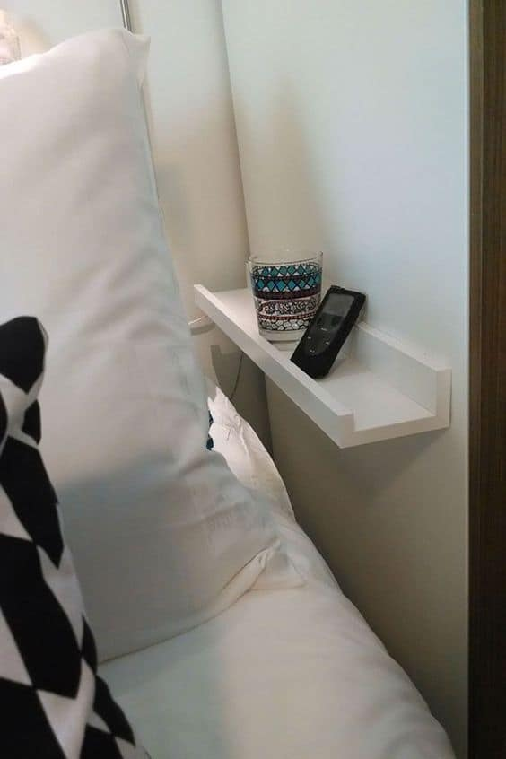 small space hacks for home side bed shelf