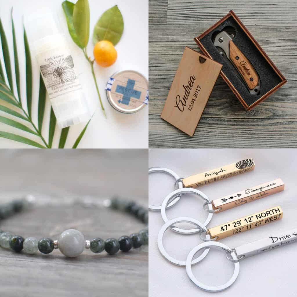 collage of stocking stuffers for boyfriend etsy muscle balm, custom knief, stone bracelet, engraved keychain