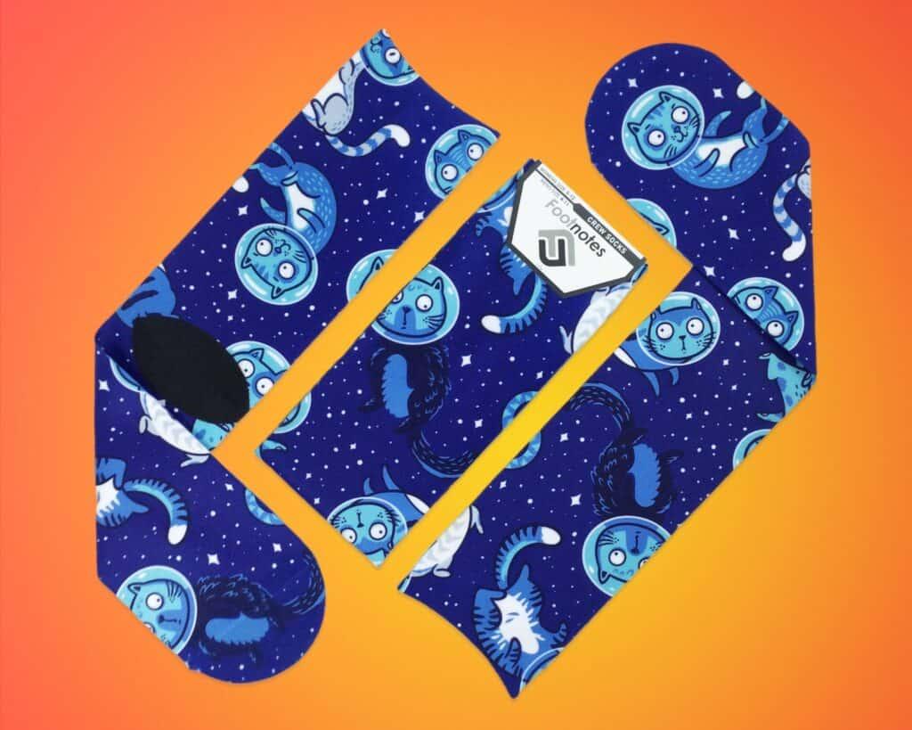 stocking stuffers for boyfriend, fun socks blue with astronaut cats