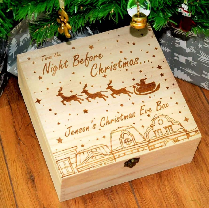 twas the night before christmas eve box wooden gold box