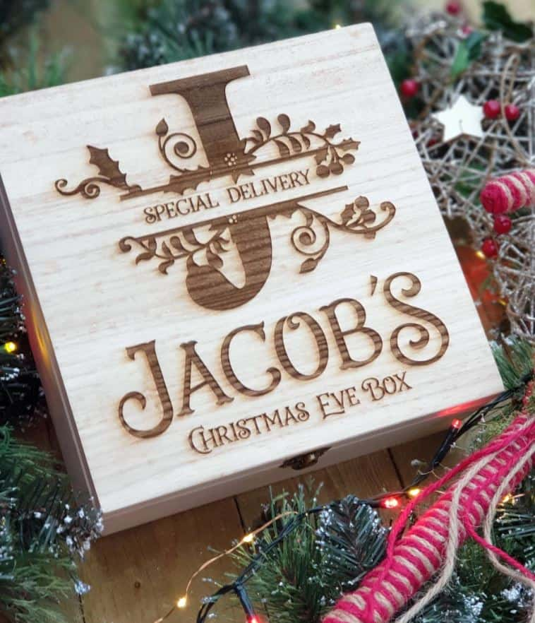 wooden laser christmas eve mini box special delivery box
