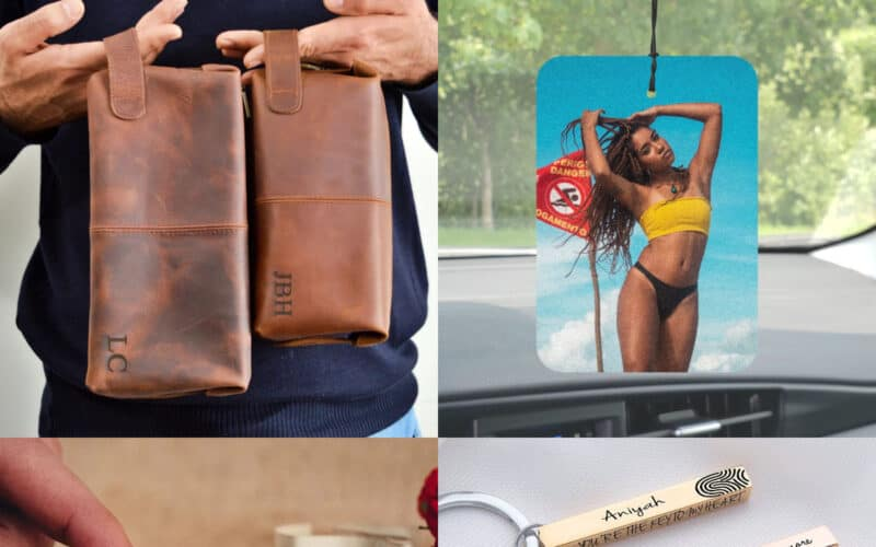 collage sentimental Christmas gifts for boyfriend, Etsy shop items leather toiletry bag, photo car freshener, bar keychain, message in a bottle